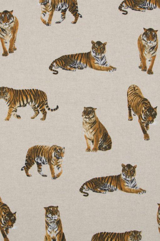 Stof Linnenlook dieren 025 - Gordijnstoffen - Decoratiestoffen