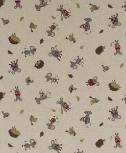 Stof Linnenlook dieren 078 - Gordijnstoffen - Decoratiestoffen