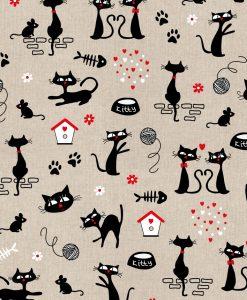 Stof Linnenlook dieren 034 - Gordijnstoffen -  Decoratiestoffen